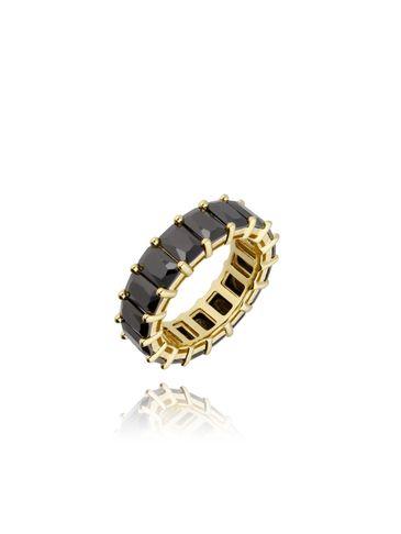 Pierścionek złoty z czarnymi kryształkami PRG0119 rozmiar 10