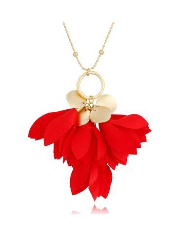 Naszyjnik złoty z kwiatem czerwony NBL0034