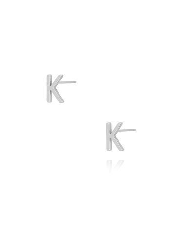 Kolczyki wkrętki z literką K srebrne KAT0014