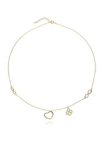 Naszyjnik srebrny pozłacany koniczynka, nieskończoność, serce NBT0029