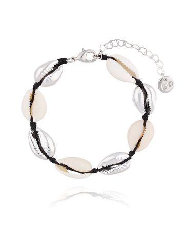 Bransoletka ze srebrnymi  i naturalnymi muszelkami  Ocean Vibes BOV0074