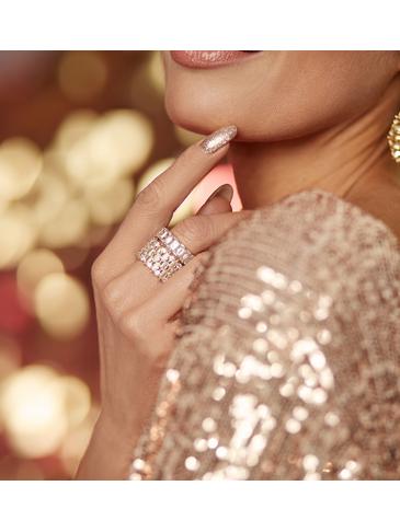 Pierścionek złoty z kryształkami PRG0118 rozmiar 20