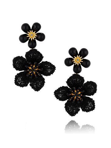 Kolczyki czarne kwiaty z kryształkami KLI0017