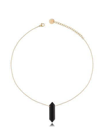 Naszyjnik z czarnym agatem złoty 45 cm NLB0073