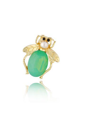 Broszka złota z owadem Green Beetle BRMI0123