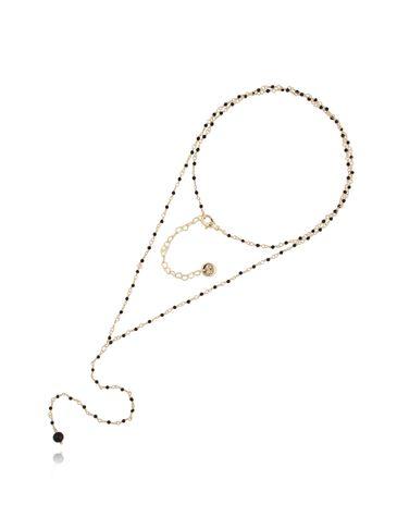Naszyjnik różaniec z kryształkami i jadeitem czarny NOA0049