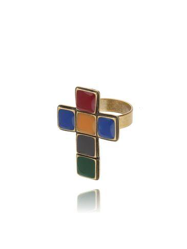 Pierścionek kolorowy krzyż PU0001