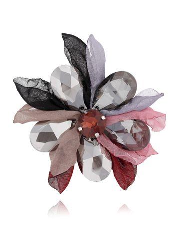 Broszka kwiat z kryształami szaro różowo bordowa BRBL0011