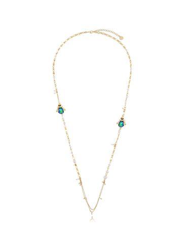Naszyjnik z perłami i zielonymi owadami NMI0091