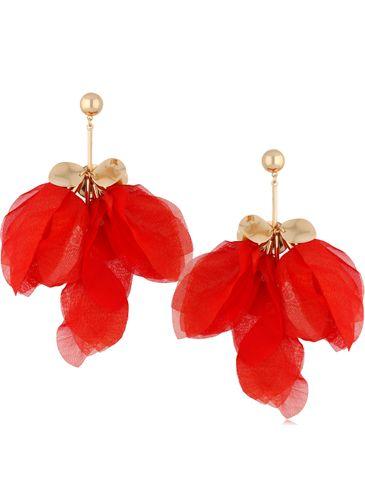 Kolczyki jedwabne kwiaty czerwone KBL0777