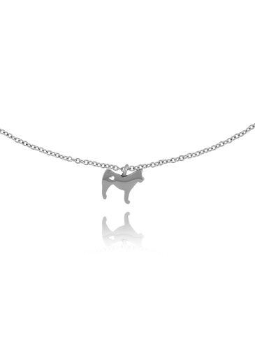 Naszyjnik srebrny z psem Rocky ze stali szlachetnej NPS0013