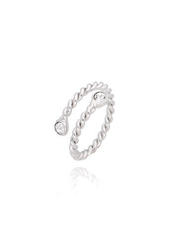 Pierścionek srebrny z przezroczystymi kryształkami PRG0073 rozmiar 13