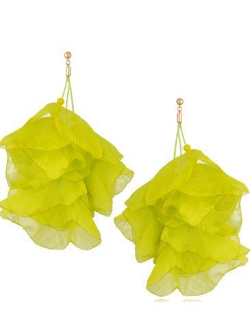 Kolczyki jedwabne kwiaty neonowe kiwi KBL0840