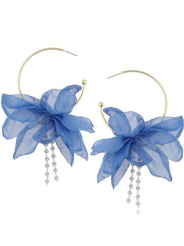 Kolczyki jedwabne kwiaty niebieskie KBL0826