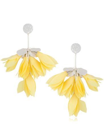 Kolczyki satynowe kwiaty pastelowo żółte KBL0503