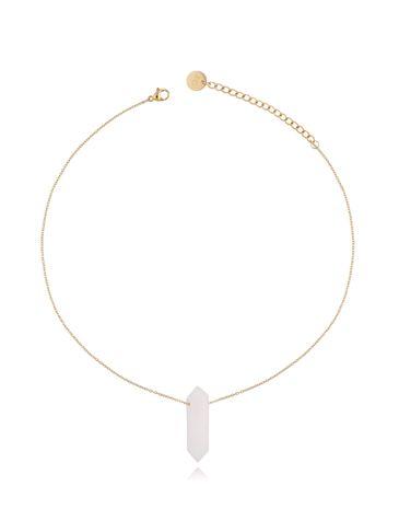 Naszyjnik z białym jadeitem złoty 35 cm NLB0068