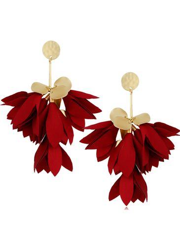 Kolczyki satynowe kwiaty burgund KBL0516