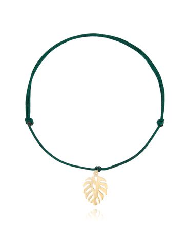 Bransoletka złota monstera na zielonym sznurku BSE0077