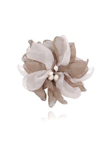 Broszka / spinka kwiat z perełkami brązowo beżowa BRBL0021