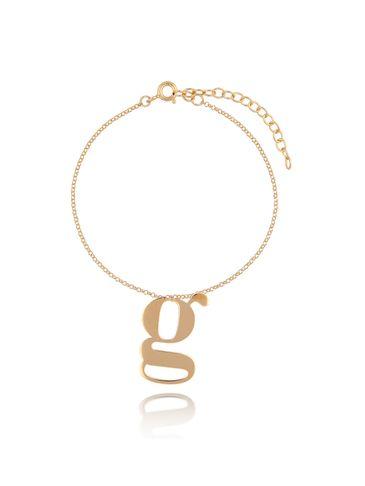 Bransoletka srebrna pozłacana z literką G BAT0087