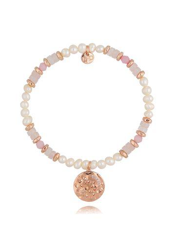 Bransoletka z kwarcami i perłami różowa BSC0805
