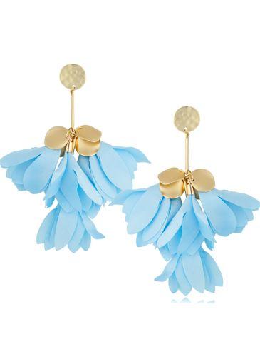 Kolczyki jedwabne kwiaty błękitne KBL0801