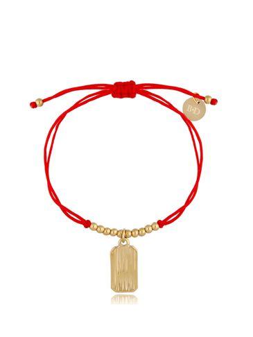 Bransoletka złoto-czerwona z zawieszką Simple BGL0509