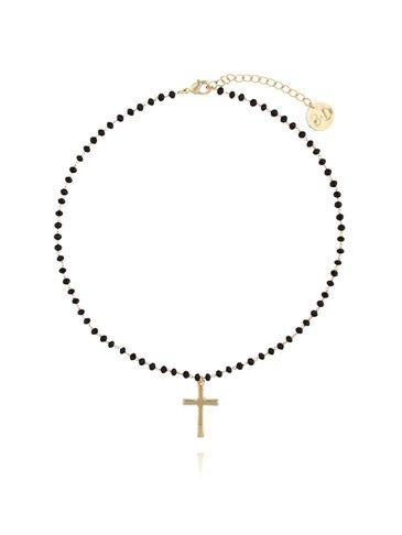 Naszyjnik z łańcuszkiem z czarnymi kryształkami i złotym krzyżem NRG0284