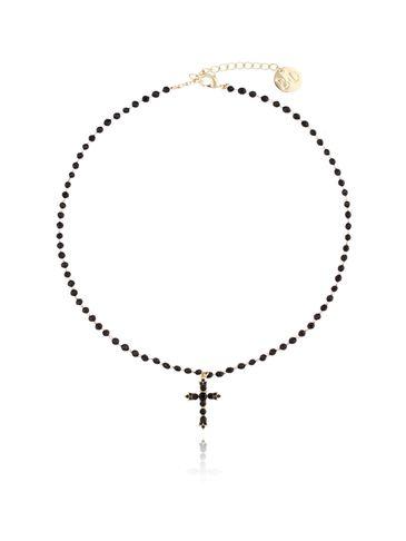 Naszyjnik z krzyżykiem i czarnymi kryształkami NRG0132