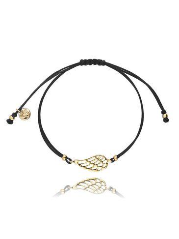 Bransoletka na sznurku czarna - złote skrzydełko BGL0413