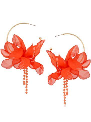 Kolczyki jedwabne kwiaty malinowa pomarańcza KBL0817