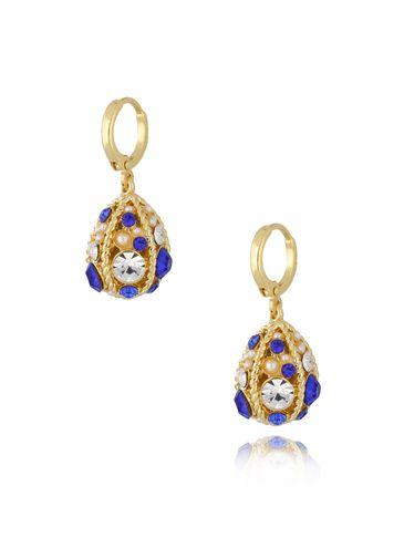 """Kolczyki """"jajka Faberge"""" niebieskie KRG0667"""