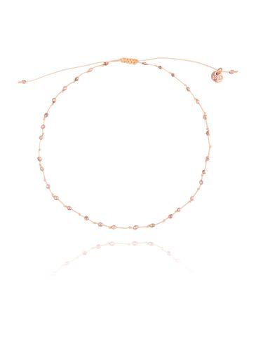Bransoletka na nogę brzoskwiniowy sznurek ze różowym hematytem BNSC0030 rozmiar L, XL