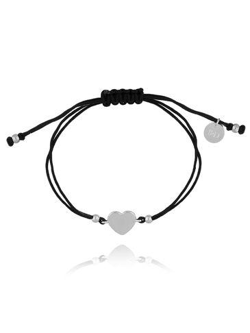 Bransoletka na czarnym sznurku z sercem BGL0462