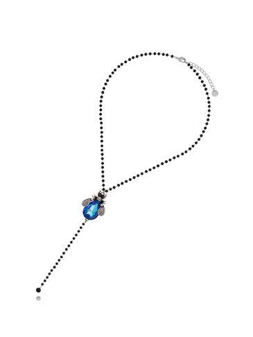 Naszyjnik niebieski żuk z czarnym łańcuszkiem NMI0047