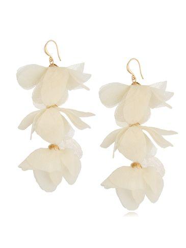 Kolczyki jedwabne kwiaty potrójne kremowe KBL0785