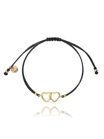 Bransoletka na sznurku czarne - złote serca BGL0436
