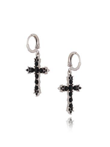 Kolczyki srebrne krzyże z czarnymi kryształkami KRG0498