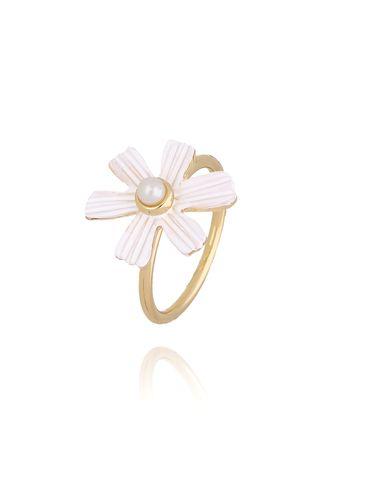 Pierścionek złoty z kwiatkiem PLI0001