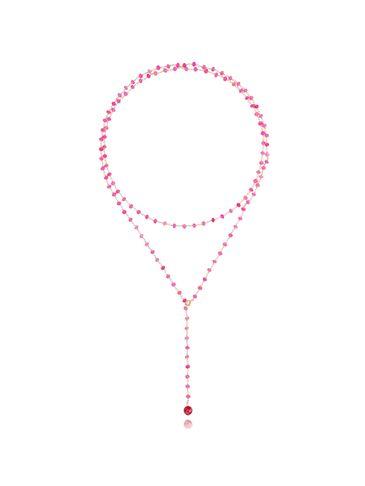Naszyjnik z różowymi agatami i howlitem NPA0149