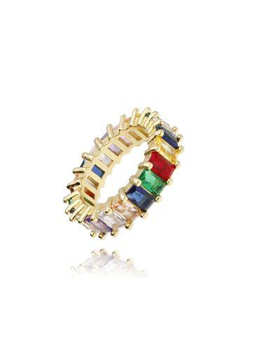 Pierścionek złoty z kolorowymi kryształkami PRG0090 rozmiar16