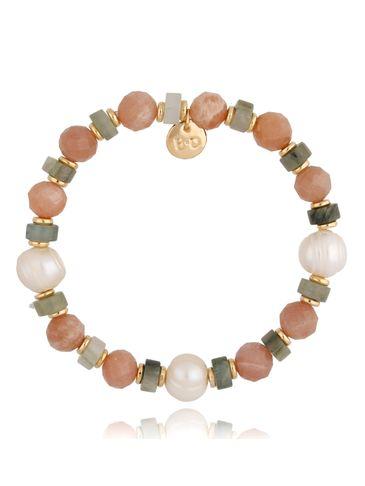 Bransoletka złota z jadeitami, kwarcami  i perłami BPA0079