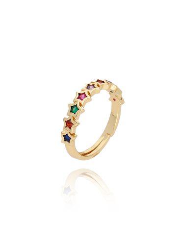 Pierścionek złoty z kolorowymi  gwiazdkami PCO0009 rozmiar 14