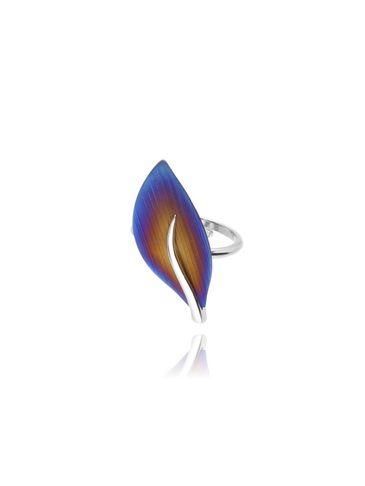 Pierścionek ze srebra i tytanu wielokolorowego - liść PLE0001