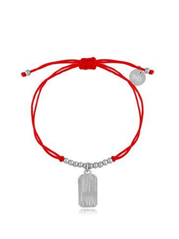 Bransoletka srebrno-czerwona z zawieszką Simple BGL0508