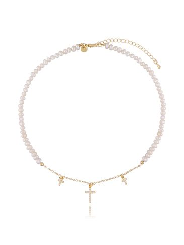 Naszyjnik z perłami i krzyżykami NLB0011
