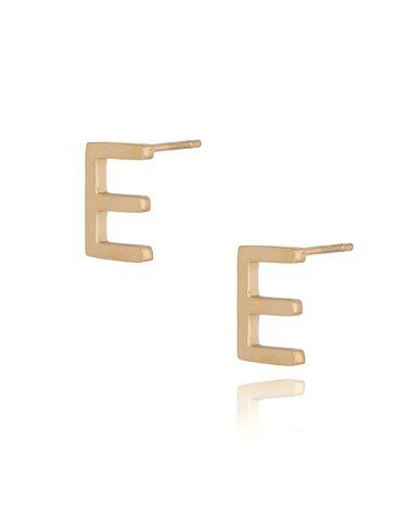 Kolczyki wkrętki złote  z literką  E KAT0061