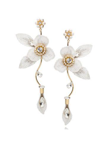 Kolczyki białe kwiaty z kryształkami KLI0001