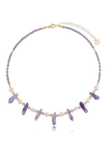 Naszyjnik fioletowy z perłami NPA0354