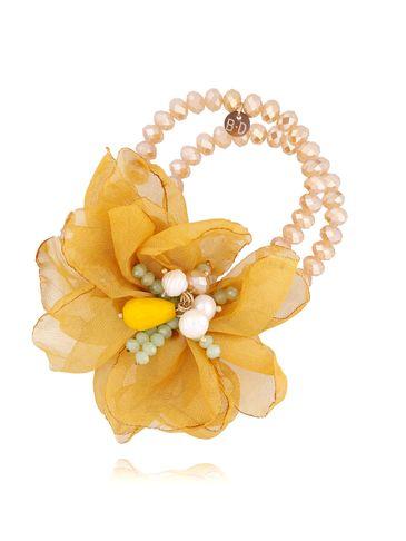 Bransoletka z kryształkami i żółtym kwiatem BBL0133